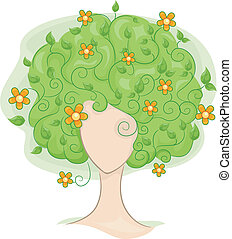 Hair Vines - Illustration of a Thinly-built Woman with...