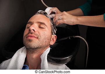Hair wash at a hair salon