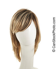 Hair wig over the mannequin head - Open wave hair wig over...