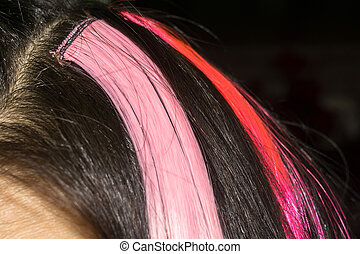Hair with Colorful Strands - Dark brown hair with colorful...