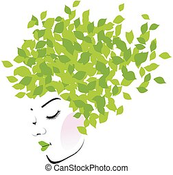 Hair with green leaves- Organic hair product logo