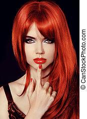 hair., zdrowy, prosty, długi, czerwony, hair., fason, piękno, model., sexy, kobieta, odizolowany, na, black., secret.