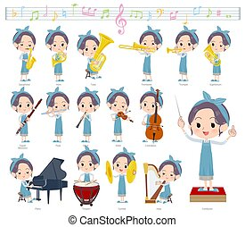 A set of mom on classical music performances.There are actions to play various instruments such as string instruments and wind instruments.It's vector art so it's easy to edit.