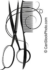 Hairbrush and scissors silhouette for beauty salon and...