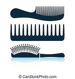 Hairbrush icon. Shadow reflection design. Vector...