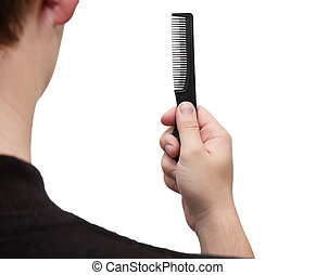 hairbrush in her hand a man on a white background
