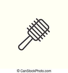 Hairbrush line icon isolated on white. Vector illustration