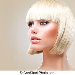 haircut., 아름다운, 소녀, 와, 건강한, 짧다, 블론드인 사람, hair., 머리 형