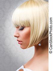 Haircut. Beautiful Girl with Healthy Short Blond Hair. ...
