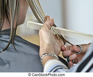 Beauty salon. Hands of hairdresser working on haircut.