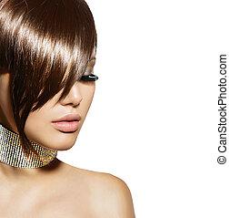 haircut., brunette, frange, femme, magnifique, portrait