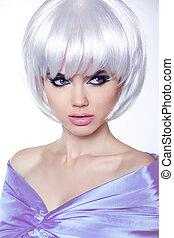 haircut., cortocircuito, hairstyle., belleza, elegante, estilo, fringe., aislado, fondo., mujer, hair., retrato, blanco, moda, moda