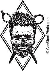 haircut., cranio, elegante, barba