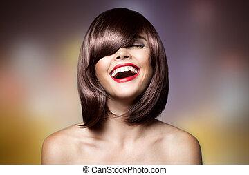 haircut., femme, hair., brun, sourire, court, hairstyl, beau