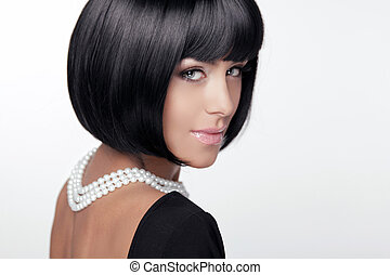 haircut., fringe., brunette, femme, mode, cheveux, style., ...