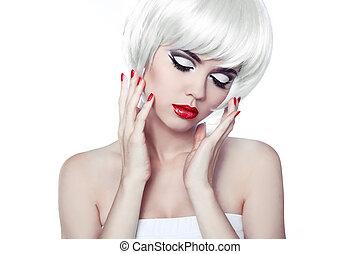 haircut., fringe., menina, moda, beleza, hair., nails., manicured, close-up., lábios, elegante, retrato, hairstyle., shortinho, vermelho, bonito, branca