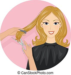 Haircut Icon - Icon Illustration Featuring a Girl Getting...