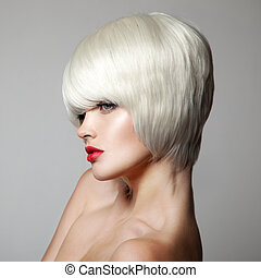 haircut., kort, hairstyle., skönhet, f, mode, portrait., hair., vit