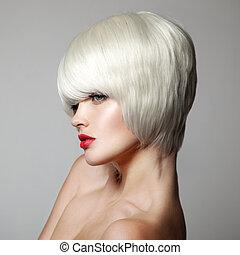 haircut., krótki, hairstyle., piękno, f, fason, portrait., hair., biały