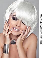 haircut., moda, hairstyle., beleza, branca, isolado, fringe., cinzento, experiência., shortinho, woman., make-up., hair., retrato, close-up., menina, feliz, style., voga