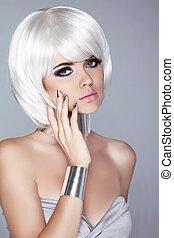 haircut., moda, hairstyle., belleza, girl., blanco, aislado, fringe., gris, fondo., cortocircuito, rubio, hair., retrato, close-up., woman., cara, style., moda