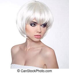 haircut., moda, hairstyle., shortinho, estilo, fringe., isolado, experiência., mulher, makeup., make-up., hair., retrato, profissional, branca, voga