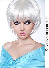 haircut., mujer, hairstyle., estilo, makeup., aislado, fondo., fringe., make-up., profesional, blanco, moda
