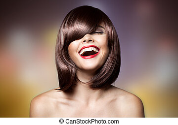 haircut., mulher, hair., marrom, sorrindo, shortinho, hairstyl, bonito