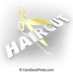 Haircut Word Gold Scissors Cutting Hair Salon Style