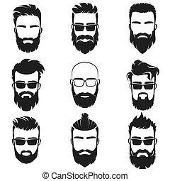 haircuts, barbudo, óculos de sol, illustration., elegante, homens, emblema, diferente, avatar, vetorial, pretas, bigodes, caras, hipster, etiqueta, barbas, estilo