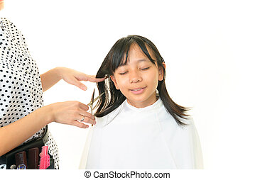Haircutting girl