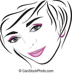 hairdo., disegno, femmina, icona