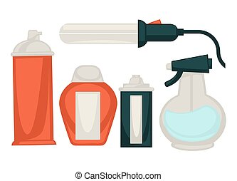 Hairdo equipment set isolated on white vector poster