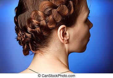 hairdo, sideview, moderne, plaits