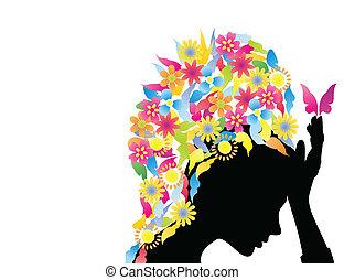 hairdress, pillangók, ábra, flowers., vektor, leány