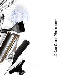 hairdresser Accessories for coloring hair on a white ...