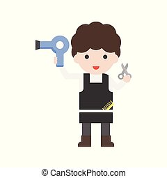 Hairdresser and hair dryer, Set Profession character of people in uniform, flat design