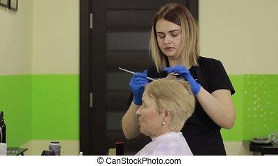 Hairdresser applying color to female customer