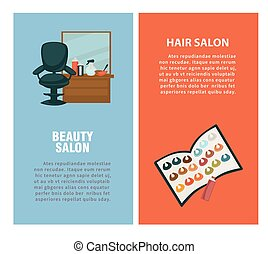 Hairdresser beauty hair salon vector poster for dye coloring...