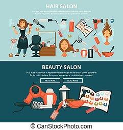 Hairdresser beauty salon vector flat web banners of woman...