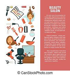 Hairdresser beauty salon vector hair coloring or haricut...