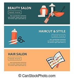 Hairdresser beauty salon web banners flat design template...