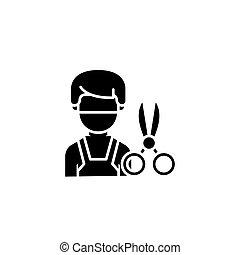 Hairdresser black icon concept. Hairdresser flat  vector symbol, sign, illustration.