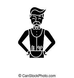 Hairdresser black icon, vector sign on isolated background. Hairdresser concept symbol, illustration