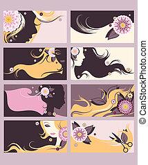 Hairdresser calling cards set - Stylish hairdresser calling ...