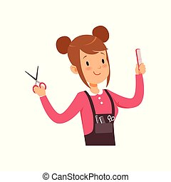 Hairdresser character with scissors vector Illustration