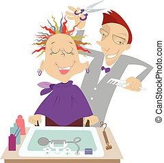 Hairdresser - Funny cartoon hairdresser makes to woman a...