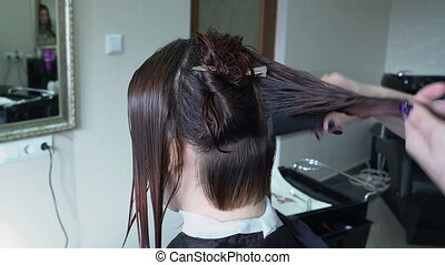 Hairdresser combing the hair strand - Hairdresser using...