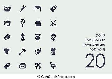 (hairdresser, conjunto, barbería, men), iconos