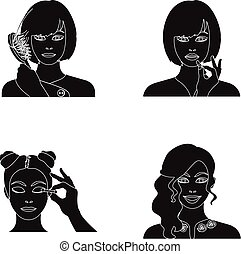 Hairdresser, cosmetic, salon, and other web icon in black style.Means, hygiene, care icons in set collection.